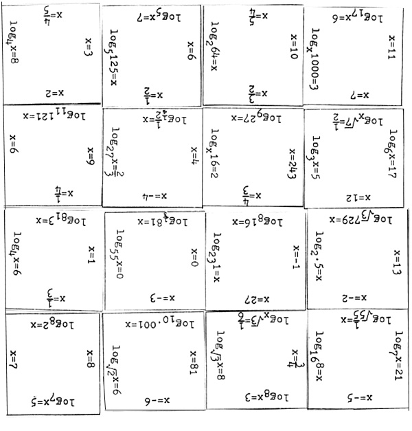 Log Cut Out – Logarithmic Equations Worksheet