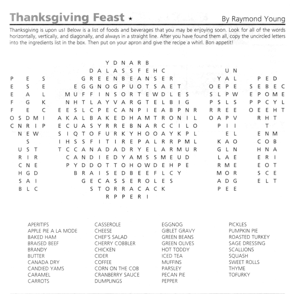 Thanksgiving Word Search Puzzle<br> GAMES October 2012