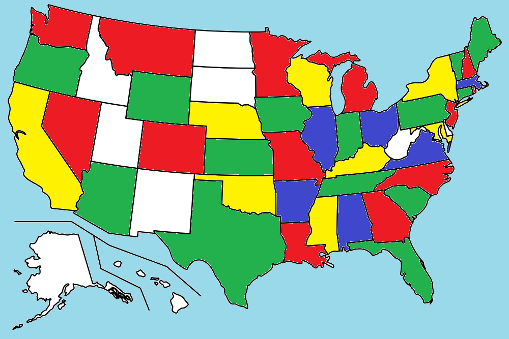 Here Is A U S Map Showing The States Where The Problem Solvers Live States Shaded In Red Yellow Blue And Green Are The States Where The Problem Solvers