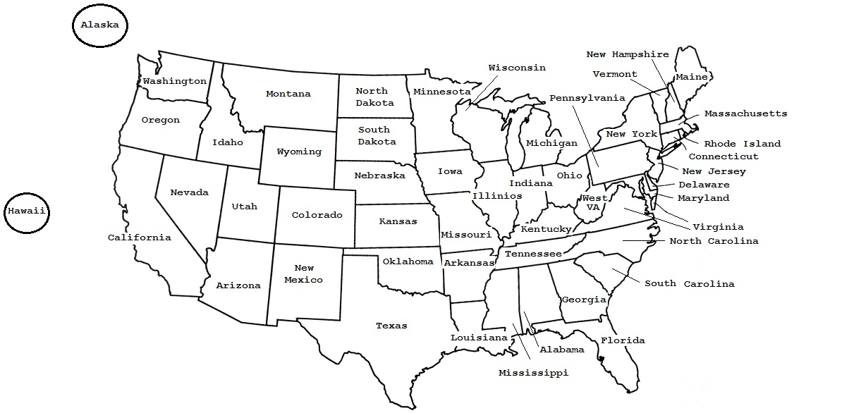Maps To Accompany Games - Map of the postal abreviations for the us