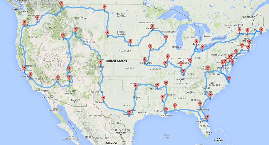 Most Efficient Way to Visit All 48 Contiguous States