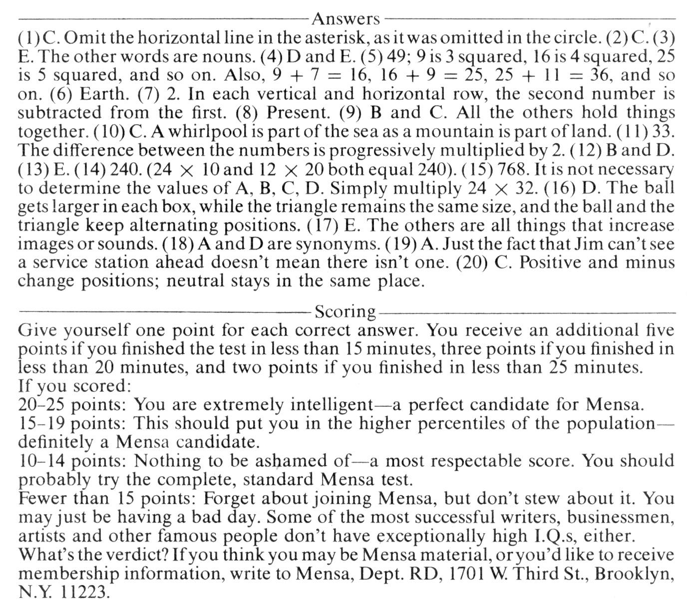 Mensa Test #4