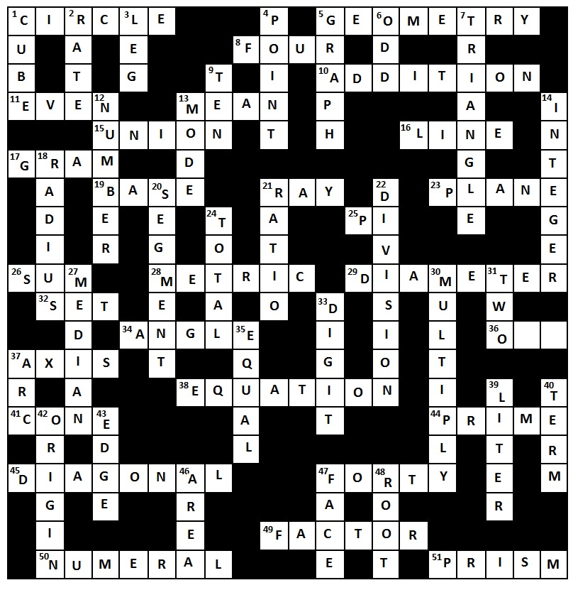 A Crossword Puzzle ANSWERS