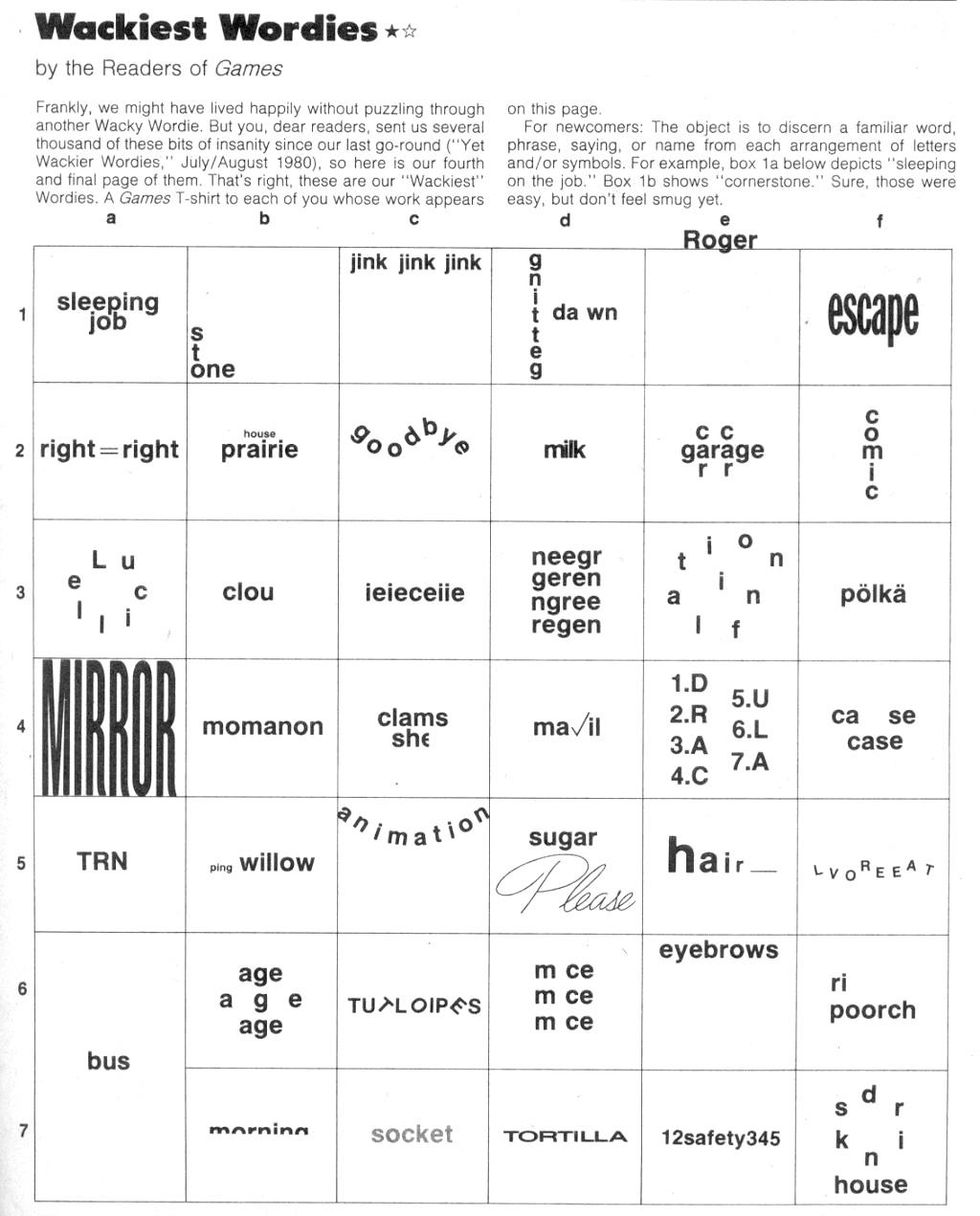 Workbooks wacky wordies worksheets : Wackie Wordies #60